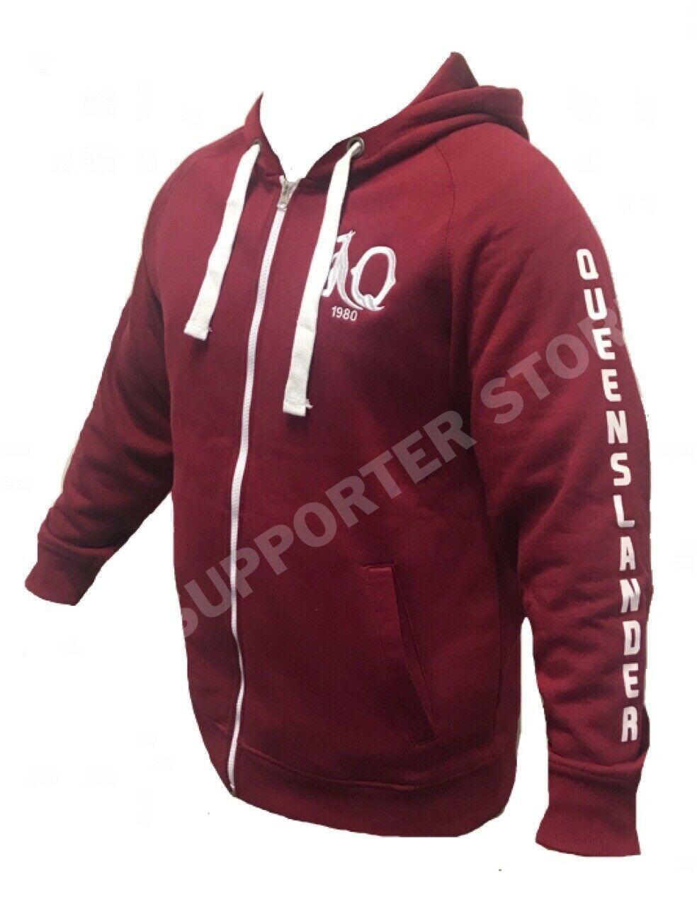 Queensland-Maroons-Retro-Heritage-Logo-Zip-Hoodie-Jacket-Sizes-S-5XL-W19 thumbnail 10